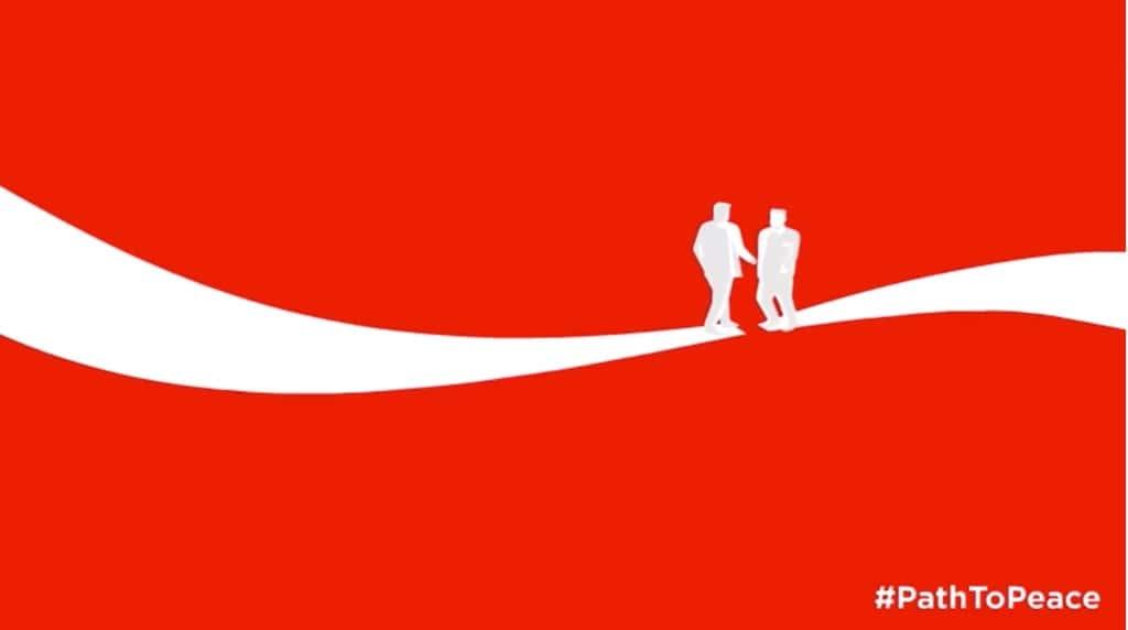 싱가포르에서 트럼프와 김정은이 만남을 에니메이션화한  코카콜라 coke