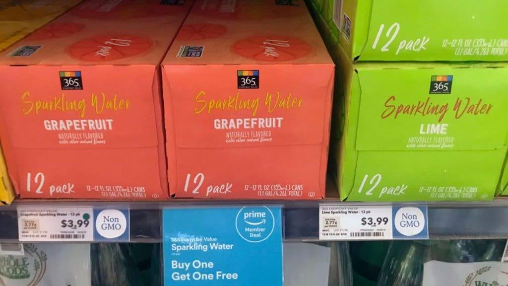 캘리포니아 홀푸드 매장에서 진열, 판매중인 홀푸드 365 셀처(Seltzer) amazon prime member deal sparkling water 이미지 쿼츠