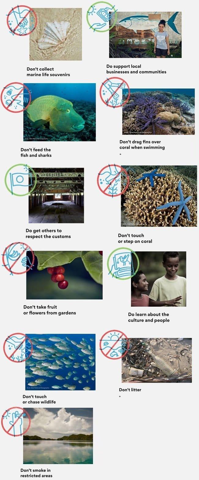 팔라우 8가지 금지 사항 및 4가지 권고 사항 Palau 01-vert