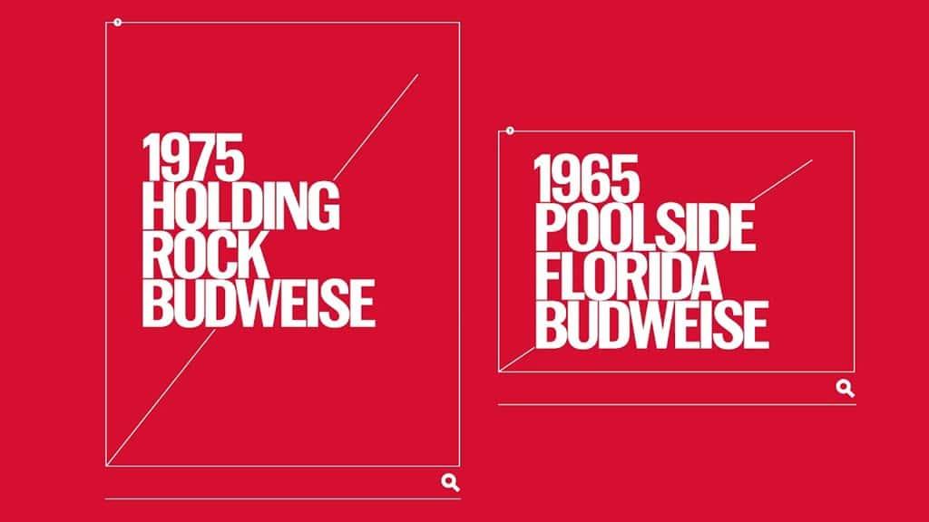 버드와이저 2018 칸 국제영화제 그랑프리 TAGWORDS 광고 이미지 1975 Holding Rock Budweise & 1965 POOL SIDE Florida Budwiser