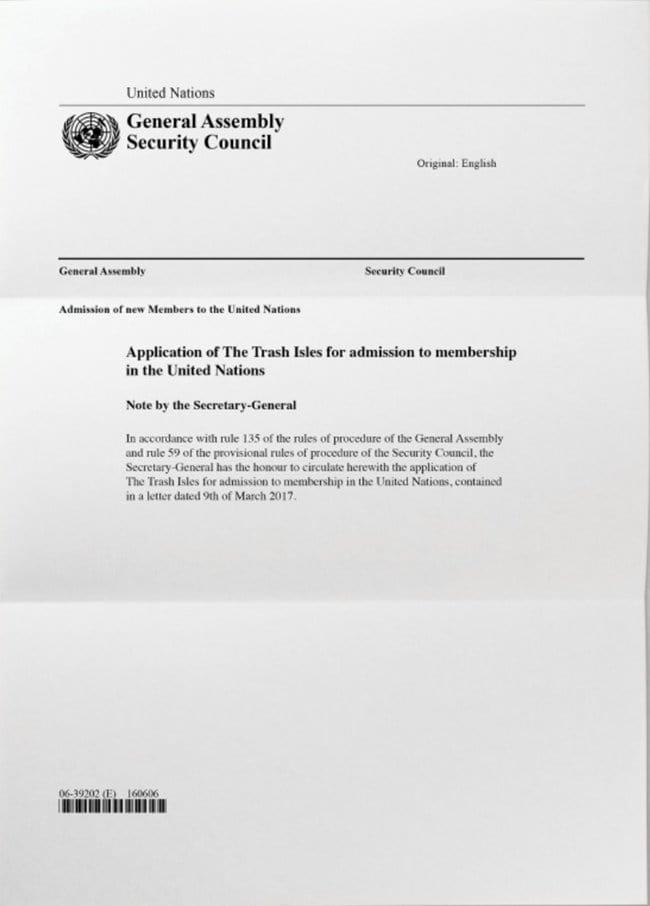 북태평양의 무수한 쓰레기섬들을 국가로 인정해 달라고 유엔에 청원하는 문서 The Trash Isles Admission of New Members to to the United Nations