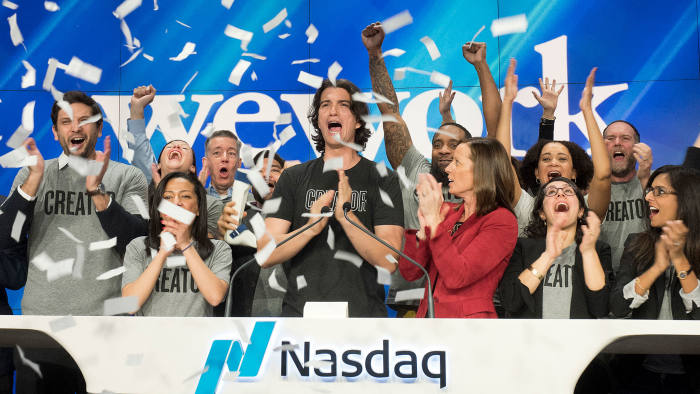 Adam Neumann, co-founder and CEO of WeWork at the opening bell ceremony at Nasdaq in January 2018 AP