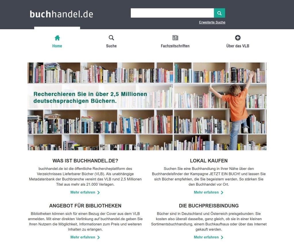 독일 중소서점 공동 판매 사이트 buchhandel.de 메인 페이지