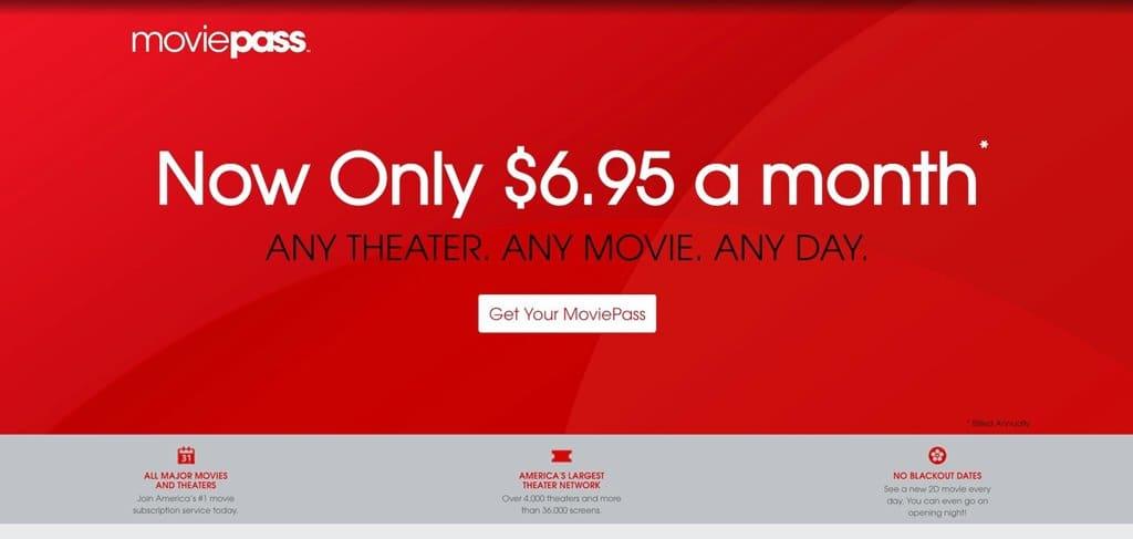 무비패스 연간약정 시 월 6.95달러, Image - MoviePass