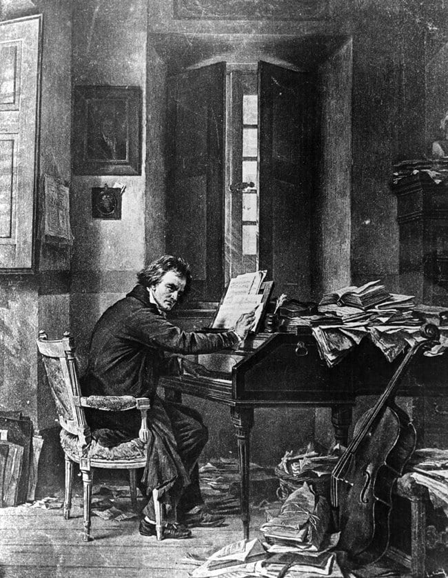 베토벤 1800s 1811 PAINTING BY SCHLOESSER OF LUDWIG VAN BEETHOVEN IN HIS STUDY IN VIENNA SEATED AT THE PIANO COMPOSING
