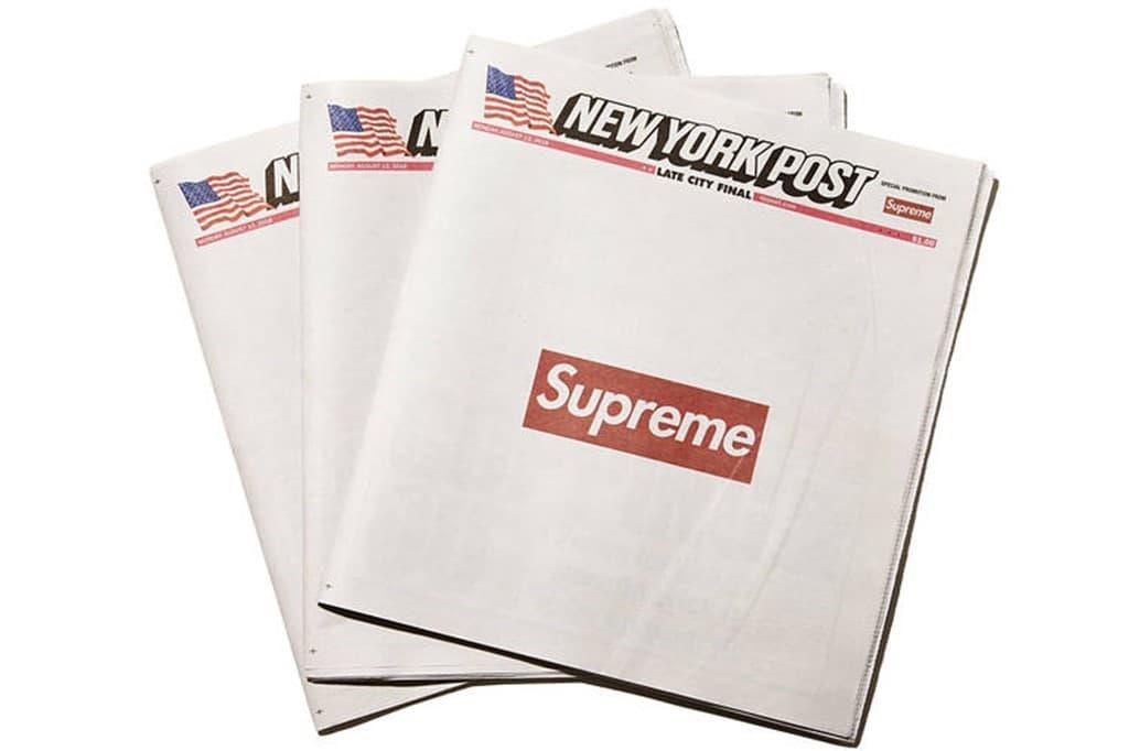 스트리트 패션 브랜드 슈프림과 뉴욕 포스트와 콜라보, Image - Wall Street Journal