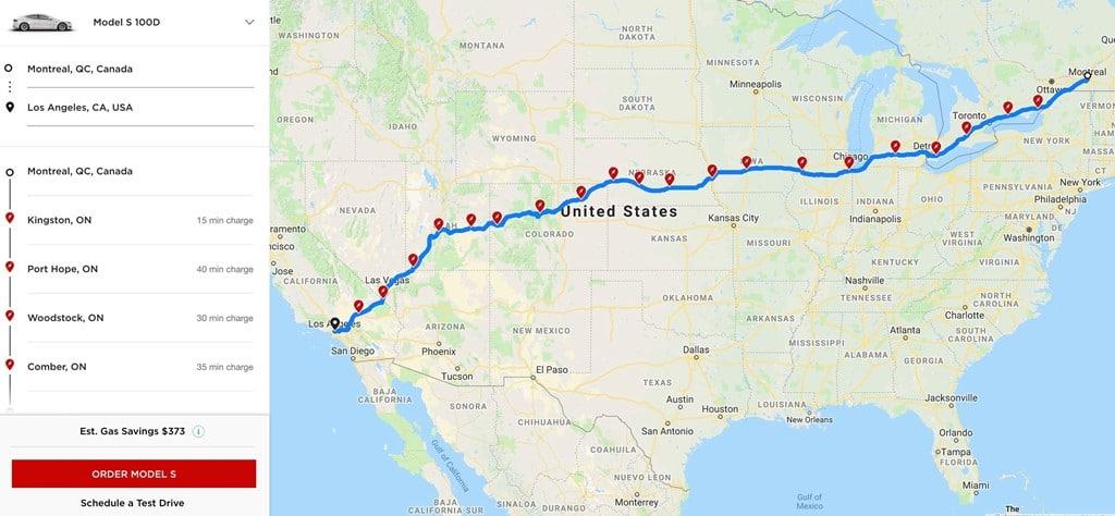 캐나다 모트리올에서 미국 로스엔젤리스가지 가는 도로에서 만나는 테슬라 충전소(Supercharger in the trip from Montreal to Los Angeles), Image source-electrek