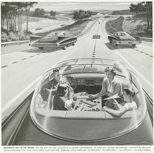 1956년 상상했던 자율주행 자동차 생활 Driverless Car of the Future Adlores