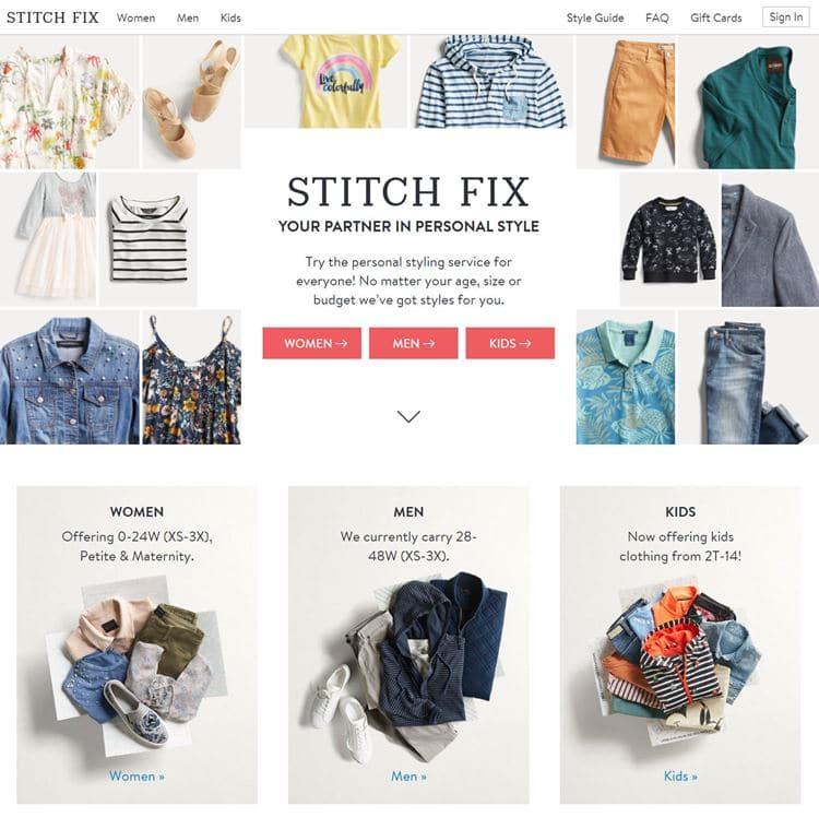 개인화된 쇼핑 경험으로 인기를 끌고 있는 스티치 픽스(Stitch Fix) 사이트 메인