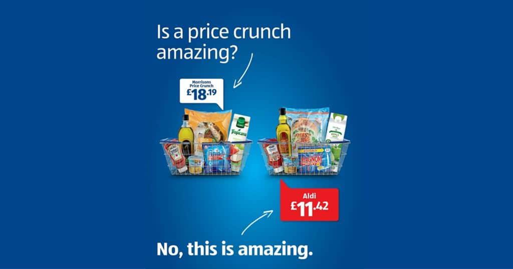 경쟁 유통 모리슨(morrisons)보다 알디(Aldi)에서 훨ㅋ신 싸게 구입할 수 있다는 도발적 광고, 2016