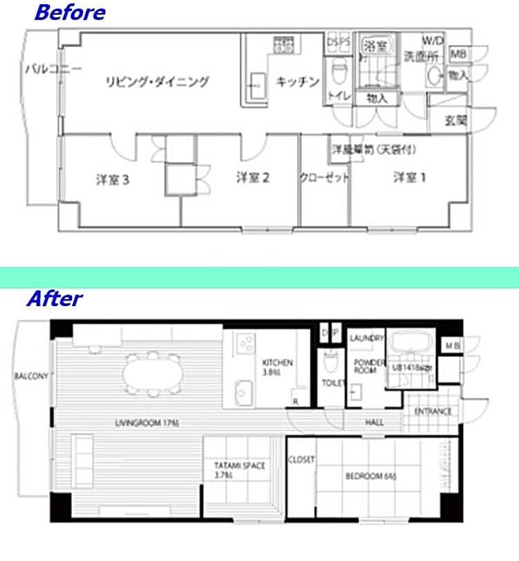 리노베루(リノべ) 사례, 집안 구조를 상당히 변경해 거실을 넓게 활용할 수 있도록 리모델링 배치도 비교