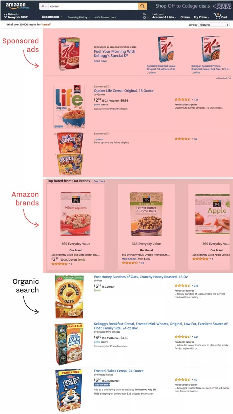 아마존에서 시리얼 검색  시 페이지 구성 amazon cereal search result, sponsored vs Amazon products, Image - recode
