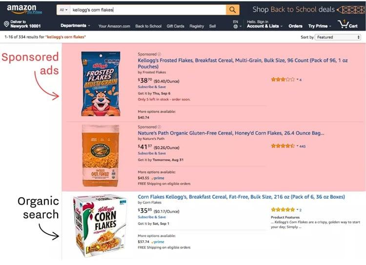 아마존에서 켈로그 콘 플레이크와 같이 구체적으로 검색 시 페이지 구성 amazon Kellogg's Corn Flakes search result, Image - recode