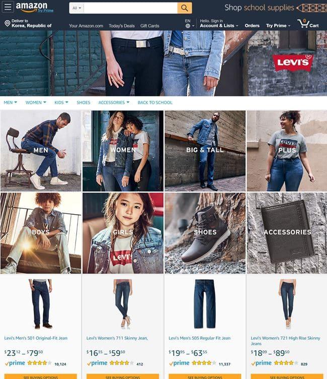 아마존 리바이스 브랜드 페이지(Amazon Levi's Store)