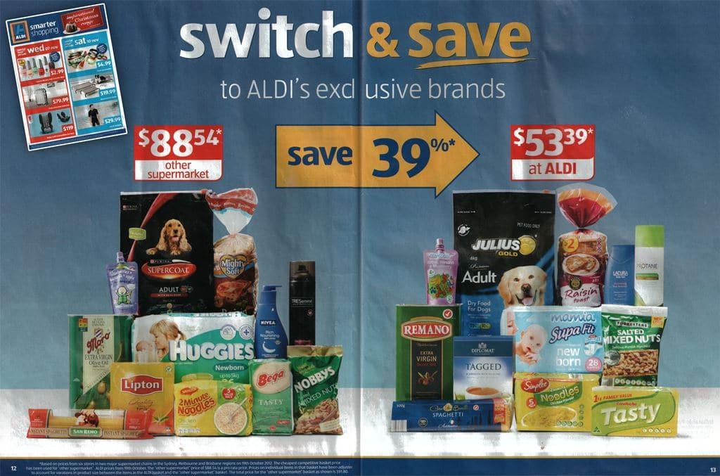 알디(Aldi) 비교광고, 경쟁 유통보다 더 저렴하게 구입할 수 있다는 신문 광고