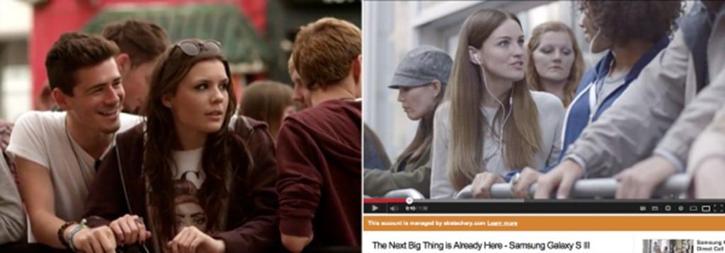 애플 아이튠즈 페스티벌을 기다리는 사람들(왼쪽)과 엄청난 것이 온다는 갤럭시 S3르 기다리는 사람들을 표현한 갤럭시 S3 광고 한장면(오른쪽)