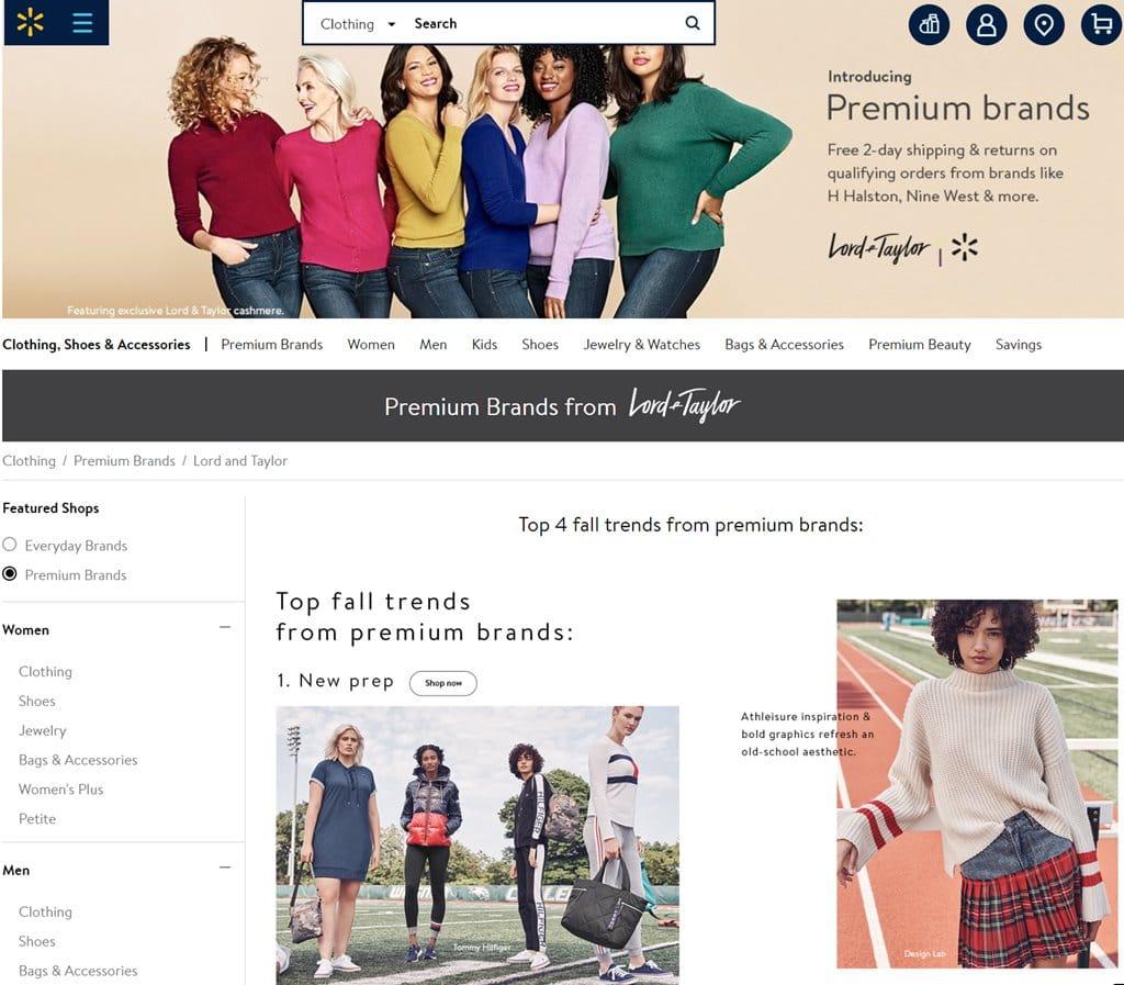 월마트닷컴(Walmart.com)에 입점한 Lord & Taylor 백화점 브랜드, Image - walmart.com