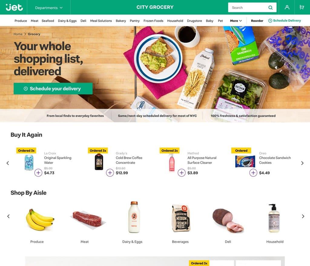 제트닷컴 식료품 페이지 Jet City Grocery_Homepage