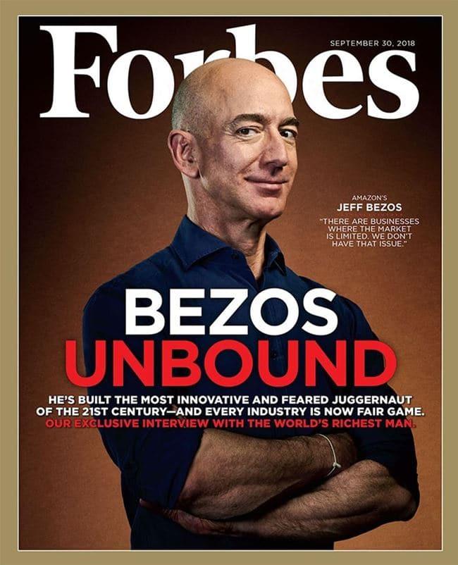 제프 베조스(Jef Bezos)를 커버로 내세운 포브스 2018년 9월 30일자