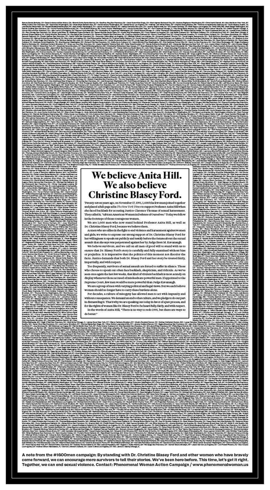 크리스틴 포드(Christine Blaacy Ford) 성폭행 증언을 지지하는 1600人 광고