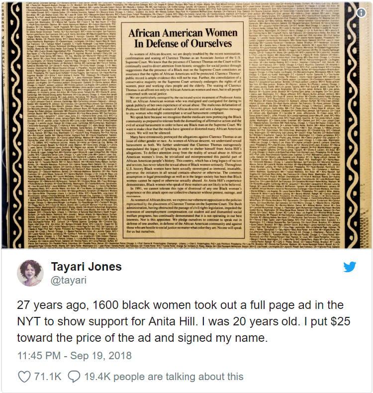 27년전 아니타 힐(Anita Hill)이야기를 책으로출간했던 작가 Tayari Jone의 트윗