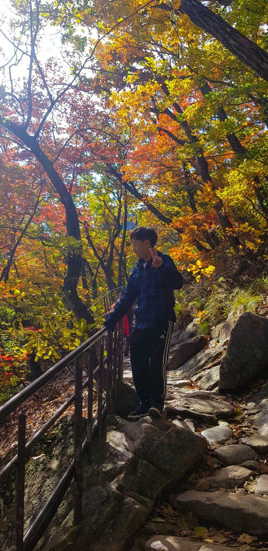 설악산 권금성봉화대로 가는 길, 단풍이 어느정도 들어서 가을을 느끼게 해준다