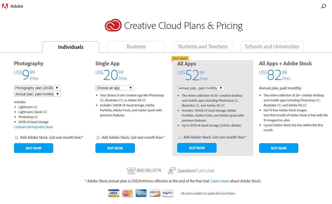 아도브 구독자 모델 플랜 소개, Creative Cloud Plans & Pricing
