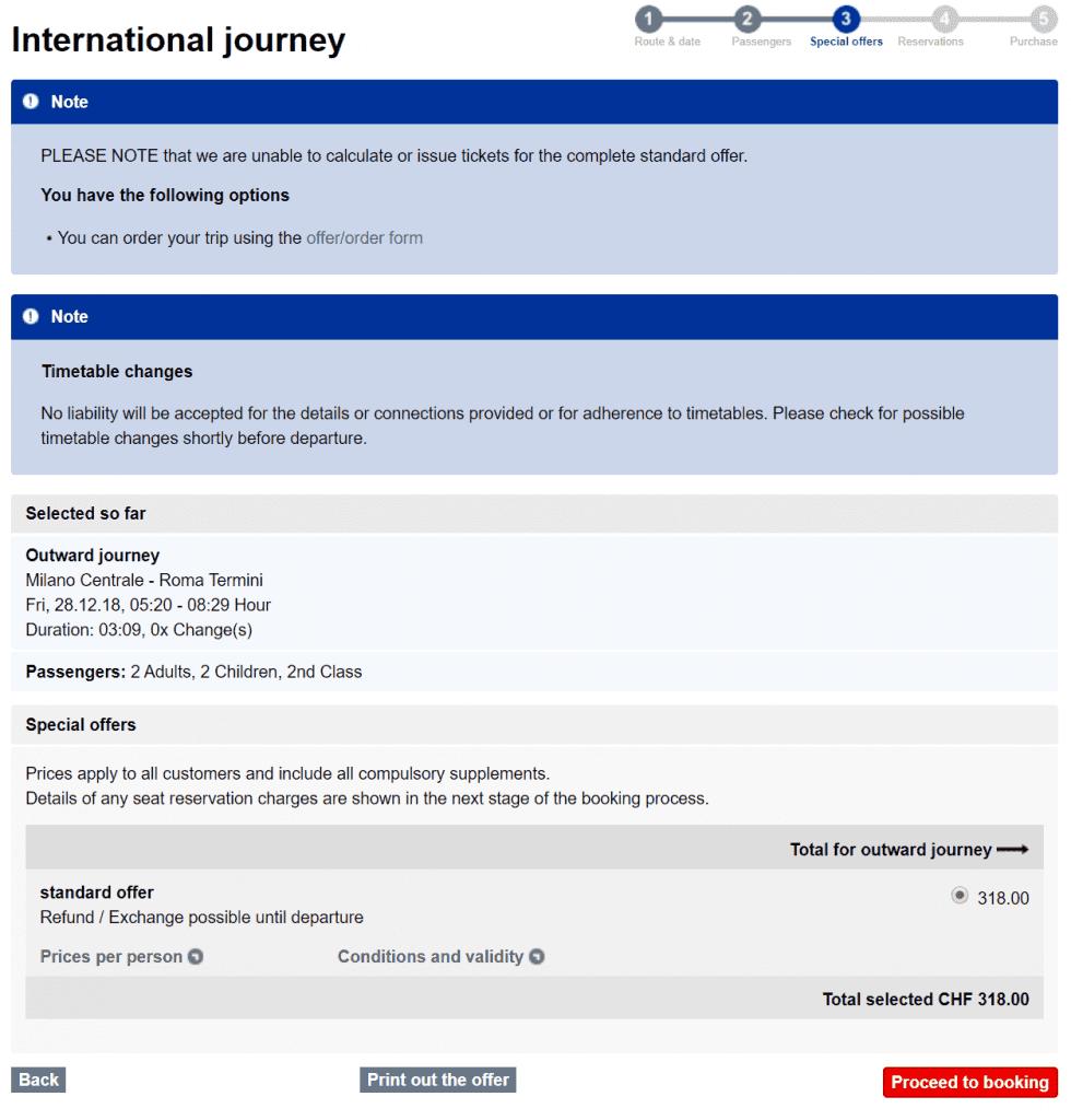 대중교통이용 - 스위스 국영 SBB를 이용 스위스 루체른에서 로마 테르미니로 가는 야간 열차 가격