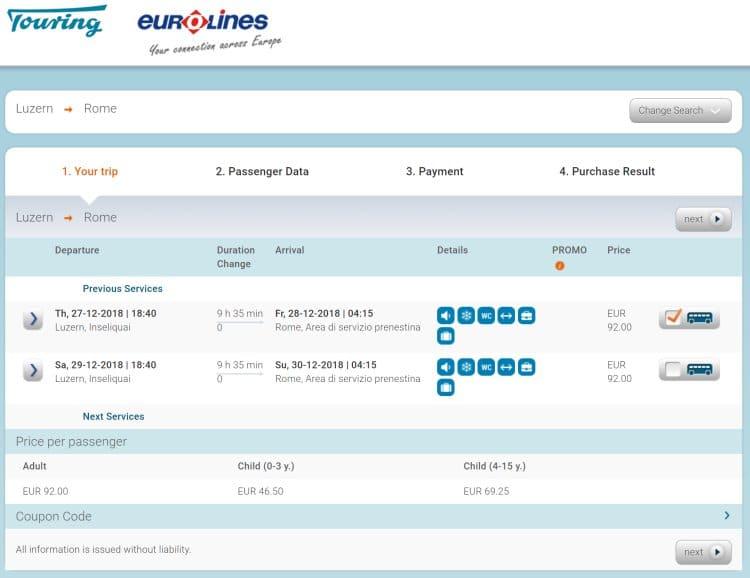 대중교통이용 - euriLines를 이용 스위스 루체른에서 로마 테르미니로 가는 야간버스 가격