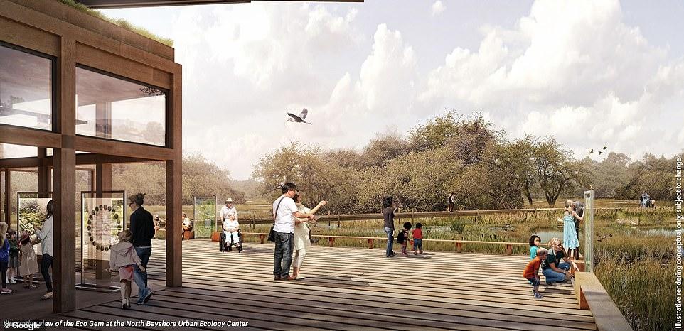 구글의 새로운 캠퍼스 조감도_호수가 공원에서 한가로운 시간을 보내는 사람들 Beyond housing and office space the campus will also include park
