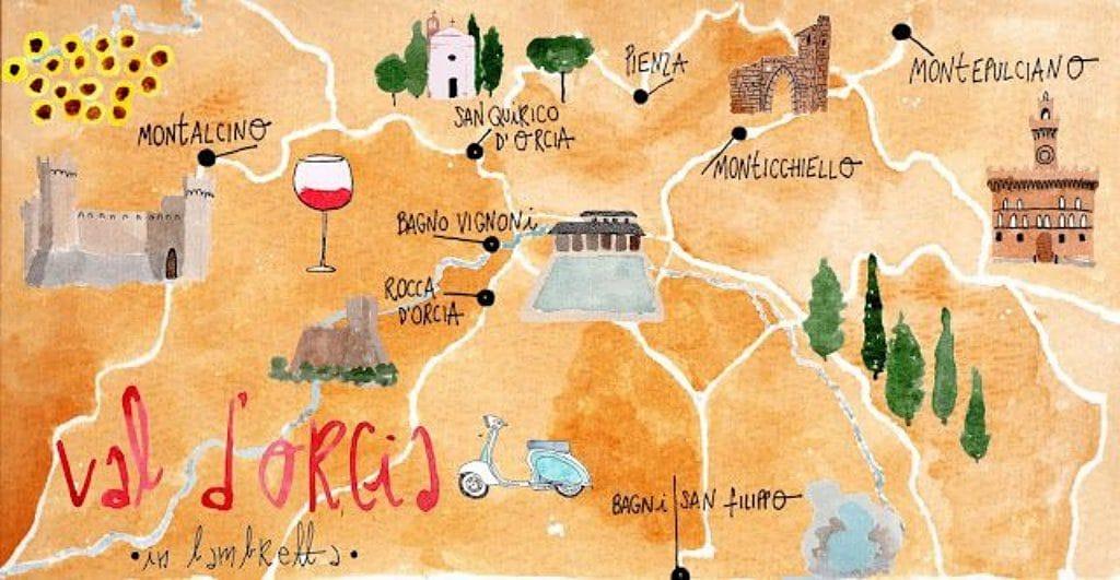 발도르시아(Val d'Orcia) 평원 지도