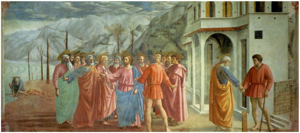 부랑카치 채플(Brancacci Chapel)의 마사초(Masaccio) 작품, 세금을 받침(Payment of the Tribute Money, 1425년 경)