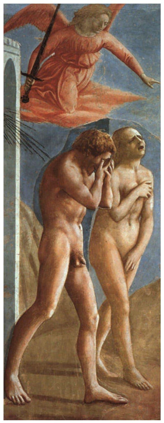 부랑카치 채플(Brancacci Chapel)의 초마사(Masaccio) 작품, 낙원에서 추방되는 아담과 이브(The Expulsion from the Garden of Eden)