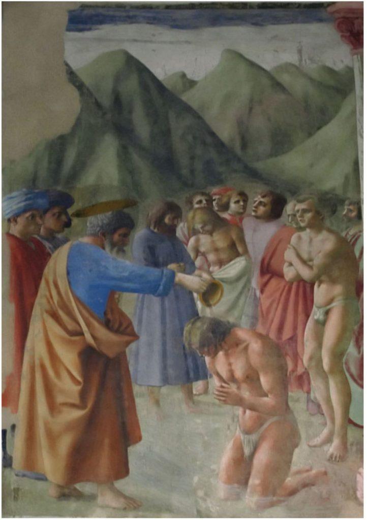 부랑카치 채플(Brancacci Chapel)의 초마사(Masaccio) 작품, 세례를 베프는 성 베드로(Baptism of the Neophytes)