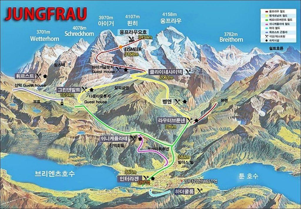 스위스 융프라우요흐(Jungfraujoch) 지도