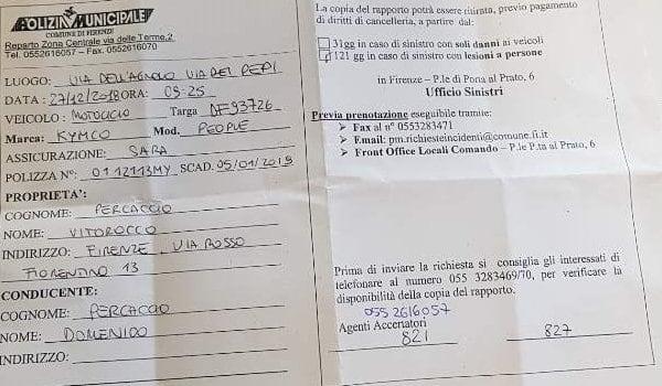 이탈리아 피렌체 자동차 사고_ 경찰 리포트 crop