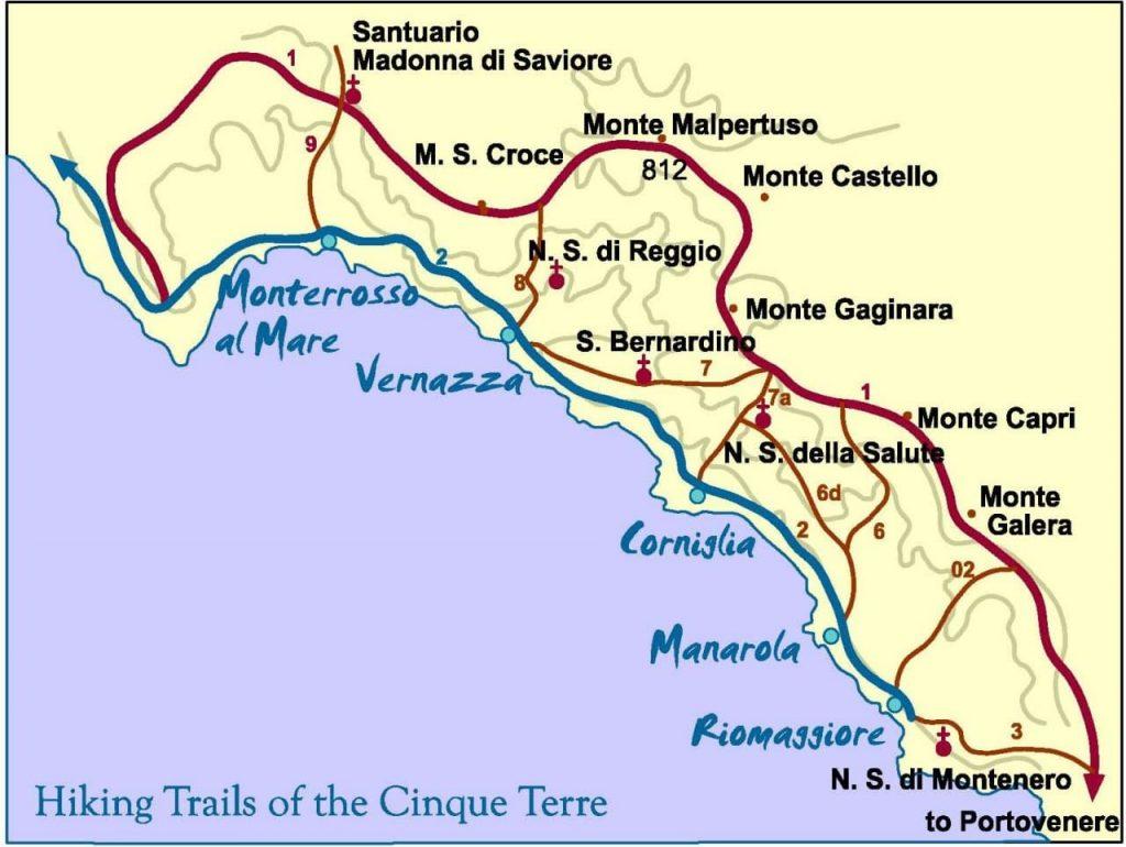 친퀘테레(Cinque Terre) 여행 지도 Cinque Terre Trail Map