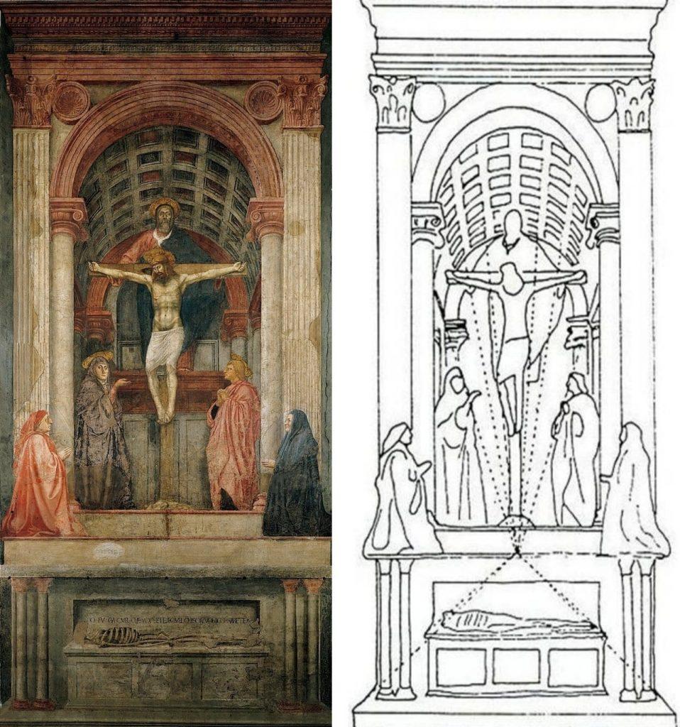 피렌체 산타 마리아 노벨라 성당에 그려진 마사초(Masaccio)의  성 삼위일체(Holy Trinity)-tile