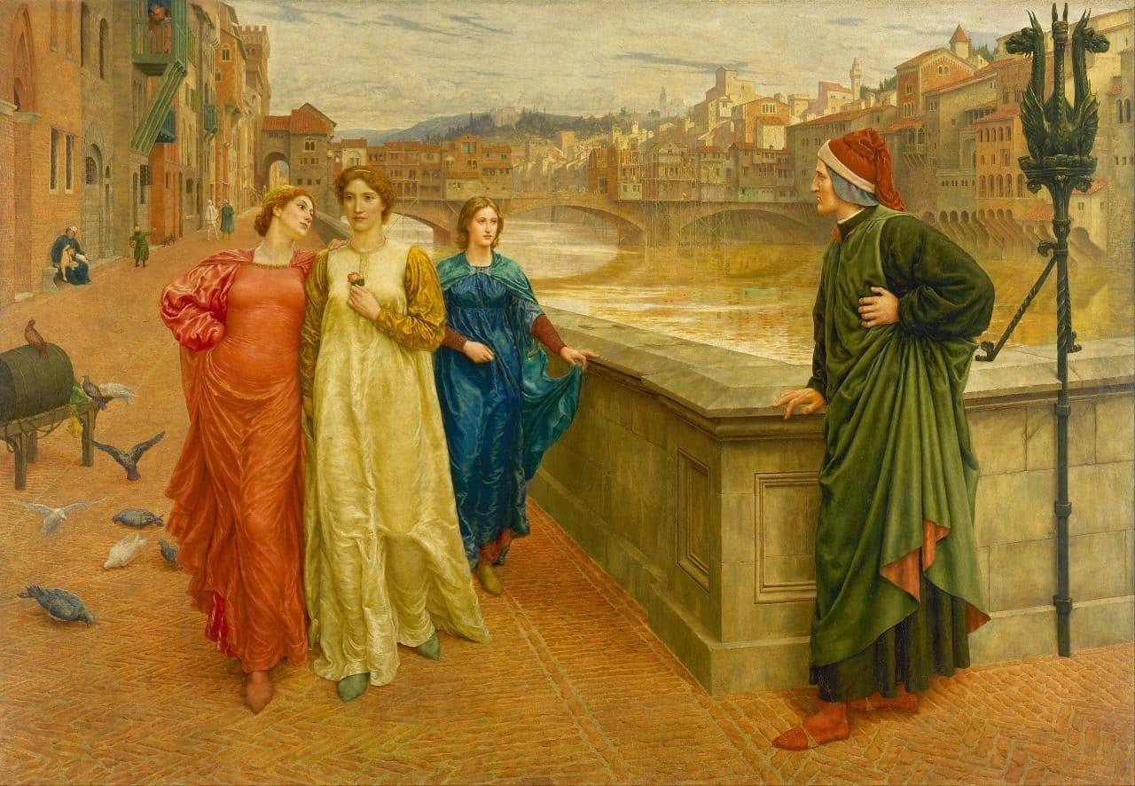 단테(Dante Alighieri)의 사랑, 단테(Dante Alighieri)와 베아트리체(Beatrice)의 산타 트리니타다리(Ponte Santa Trinita)에서의 만남, Henry Holiday - Dante and Beatrice, Image - Henry Holiday (1839 - 1927)
