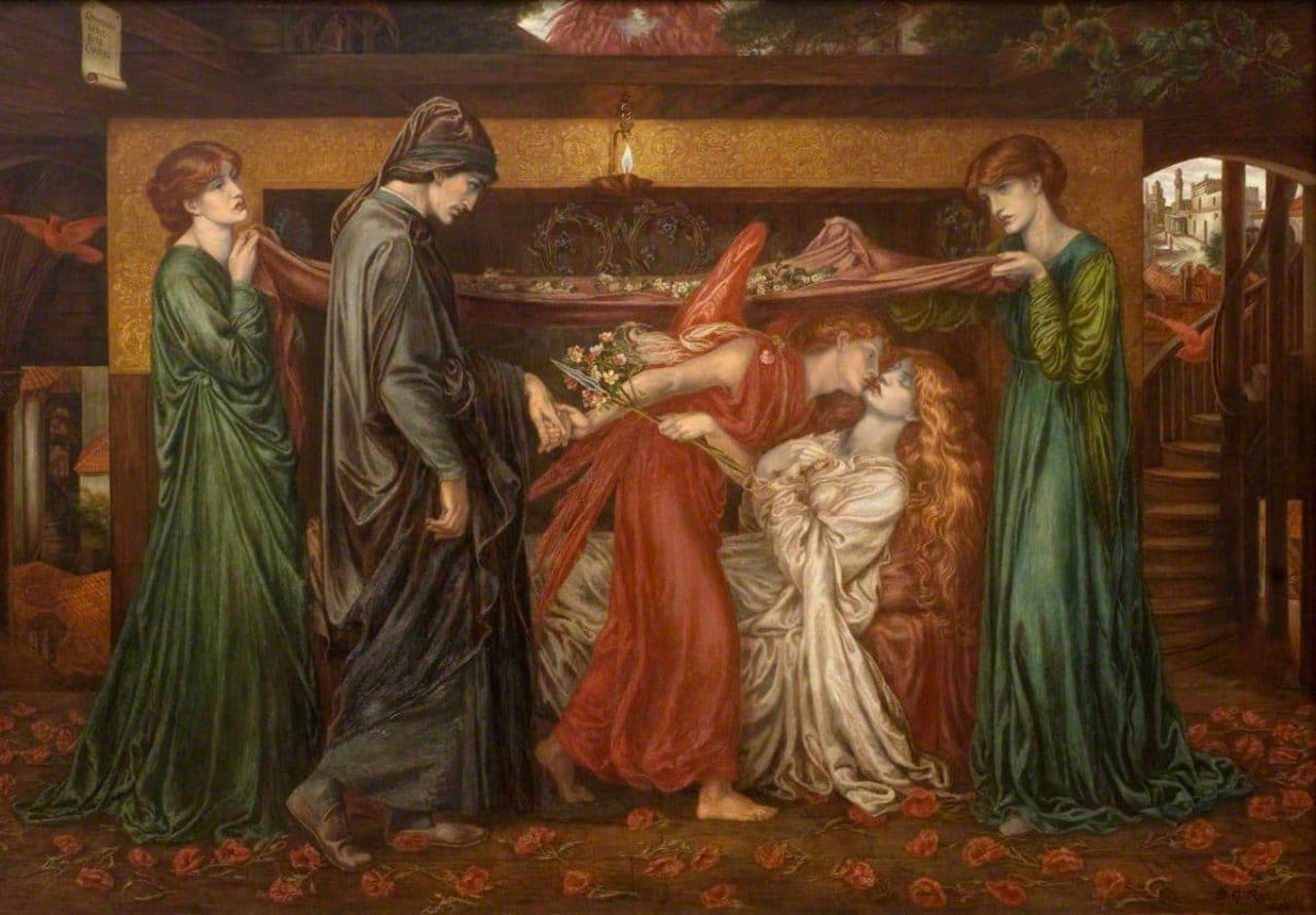 베아트리체 죽음 당시 단테의 꿈,  Dante's Dream of the Time of the Death of Beatrice, 1871, Walker Art Gallery, Image - Dante Gabriel Rossetti