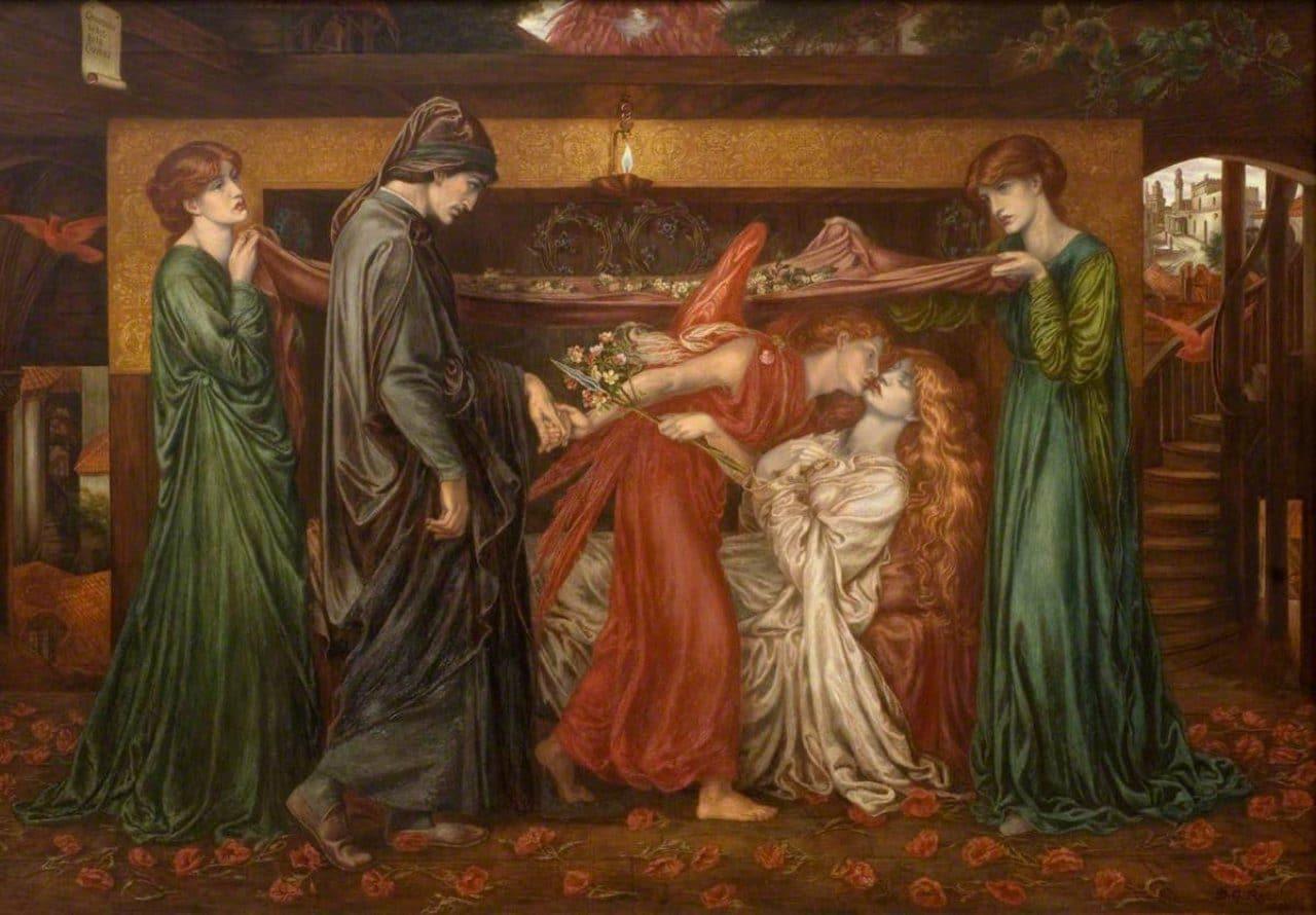 베아트리체 죽음 당시 단테의 꿈,  Dante's Dream of the Time of the Death of Beatrice, 1871, Walker Art Gallery, Image - Dante Gabriel Rossetti