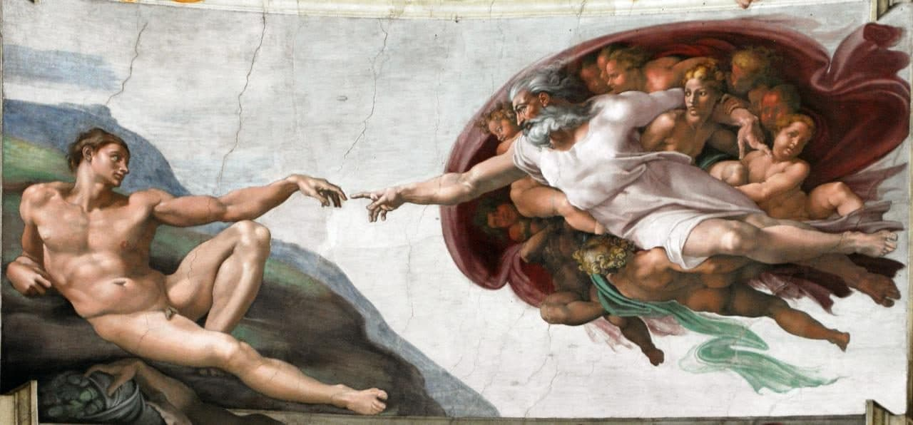 미켈란첼로(Michelangelo)의 아담의 창조, 시스티나 예배당의 천장화(Sistine Chapel ceiling) 중의 일부