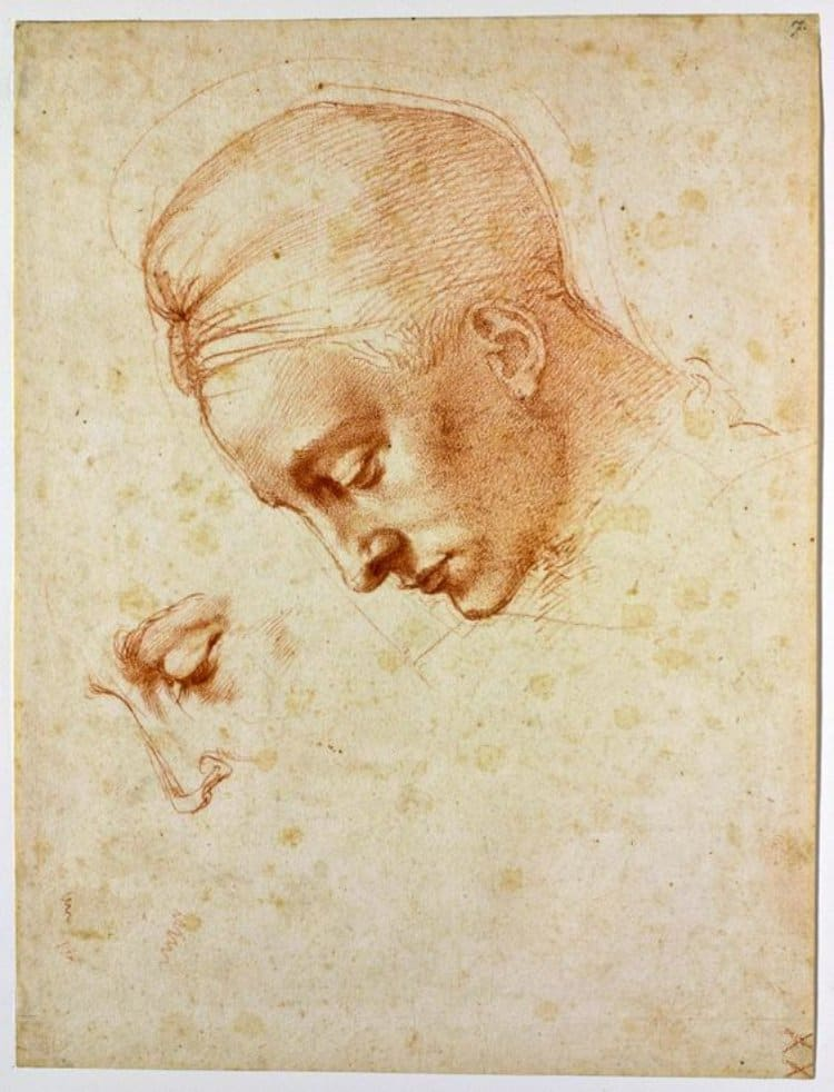 미켈란첼로(Michelangelo), 레다 스케치, Study of the Head of Leda, 1529 - Firenze, Casa Buonarroti