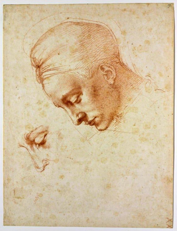 미켈란첼로(Michelangelo), 레다 스케치, Study of the Head of Leda, 1529 - Firenze, Casa Buonarroti