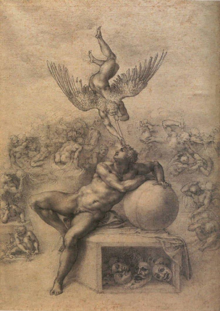 미켈란첼로(Michelangelo) 스케치, 드림, The Dream, 1533