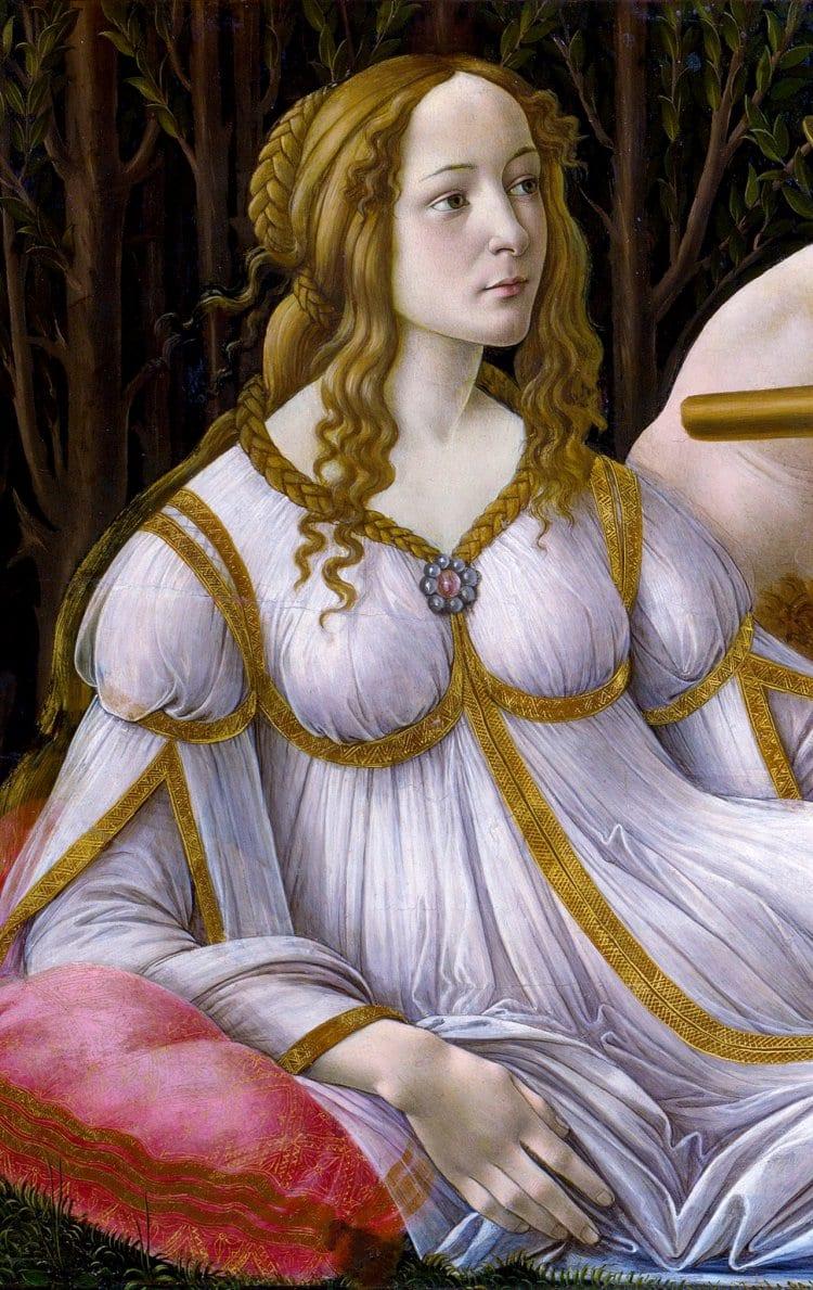 산드로 보티첼리가 그린 비너스와 마르스의 부분, Sandro Botticelli, Venus and Mars c. 1485  Tempera and oil on poplar panel, 69 x 173cm National Gallery, London