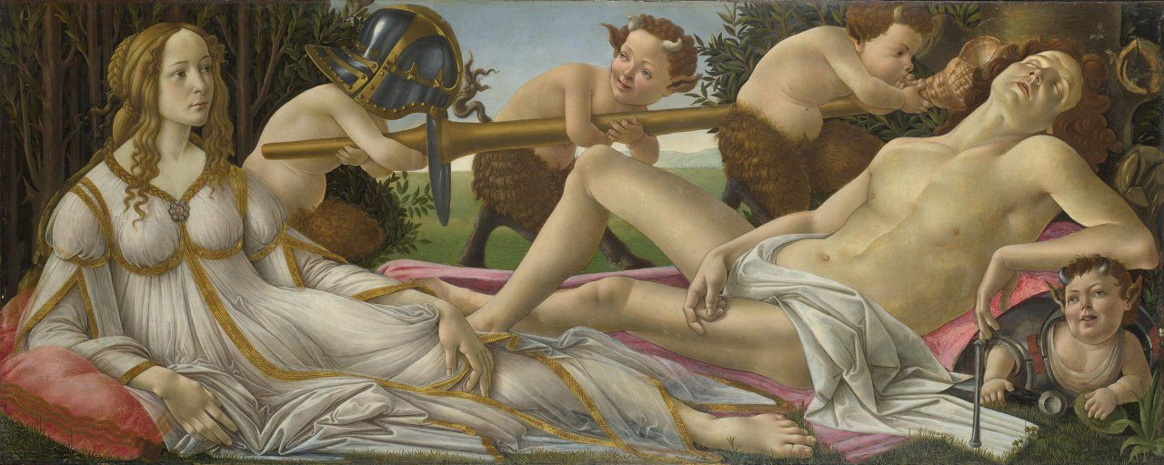 산드로 보티첼리가 그린 비너스와 마르스, Sandro Botticelli, Venus and Mars c. 1485  Tempera and oil on poplar panel, 69 x 173cm National Gallery, London