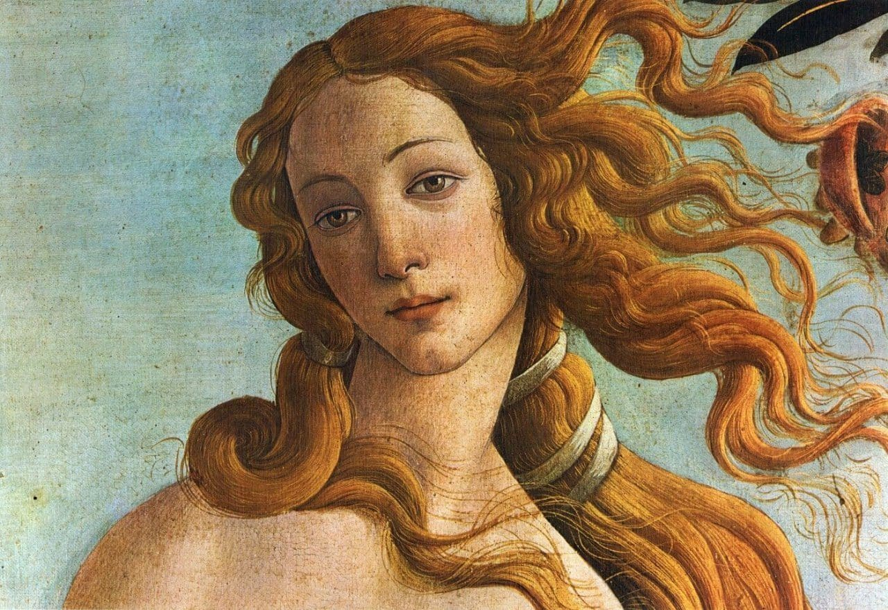 산드로 보티첼리가 그린 비너스의 탄생의 비너스, Sandro Botticelli, The Birth of Venus, 1484-86년경, Tempera on canvas, 172.5 cm × 278.9 cm, Galleria degli Uffizi, Florence