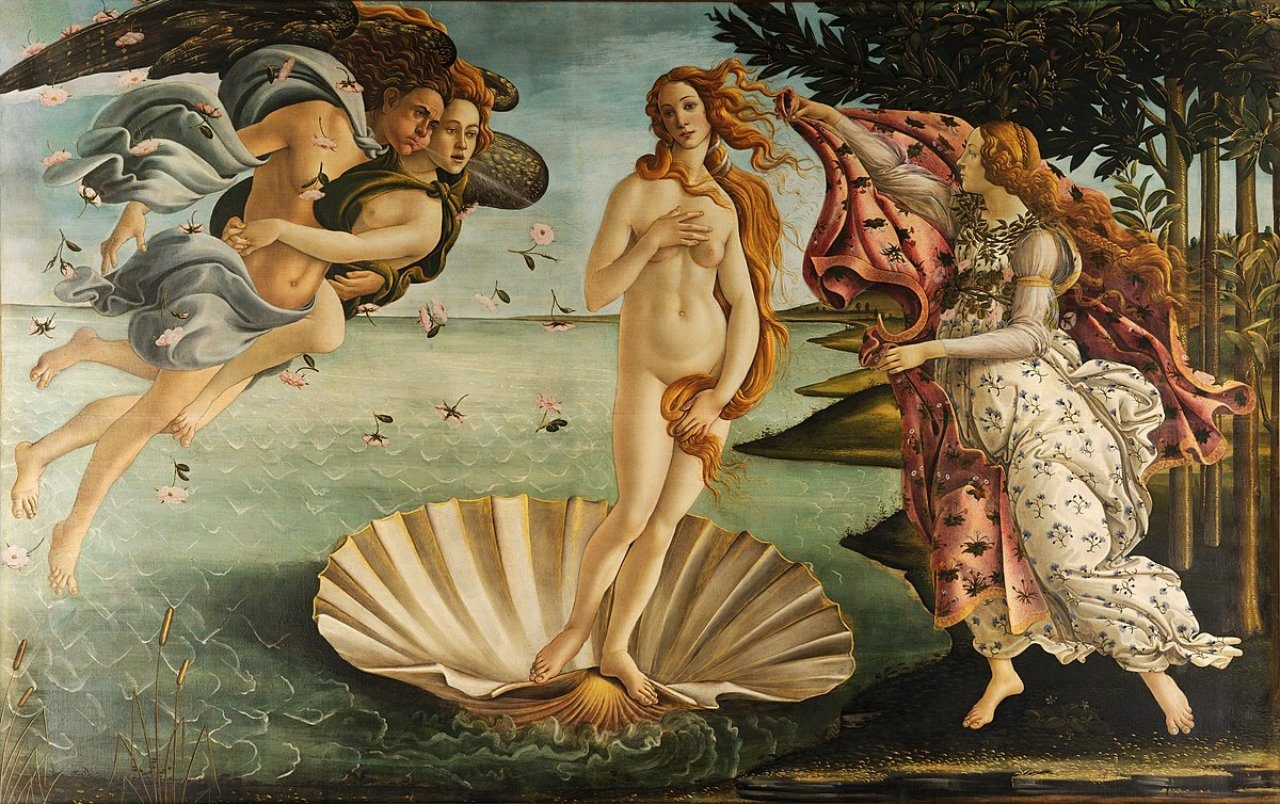 산드로 보티첼리가 그린 비너스의 탄생, Sandro Botticelli, The Birth of Venus, 1484-86년경, Tempera on canvas, 172.5 cm × 278.9 cm, Galleria degli Uffizi, Florence