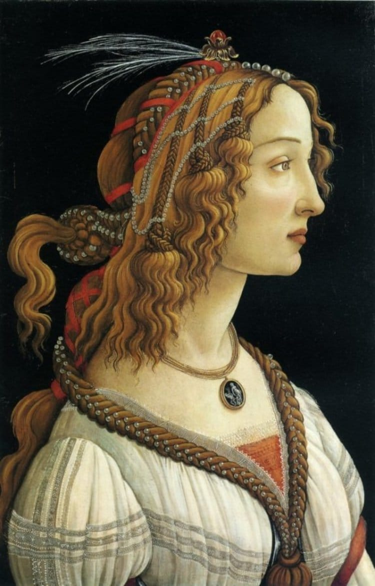 산드로 보티첼리가 그린 시모네타 초상, Sandro Botticelli, Idealized Portrait of a Lady (Portrait of Simonetta Vespucci as Nymph), 1480, Städel Museum